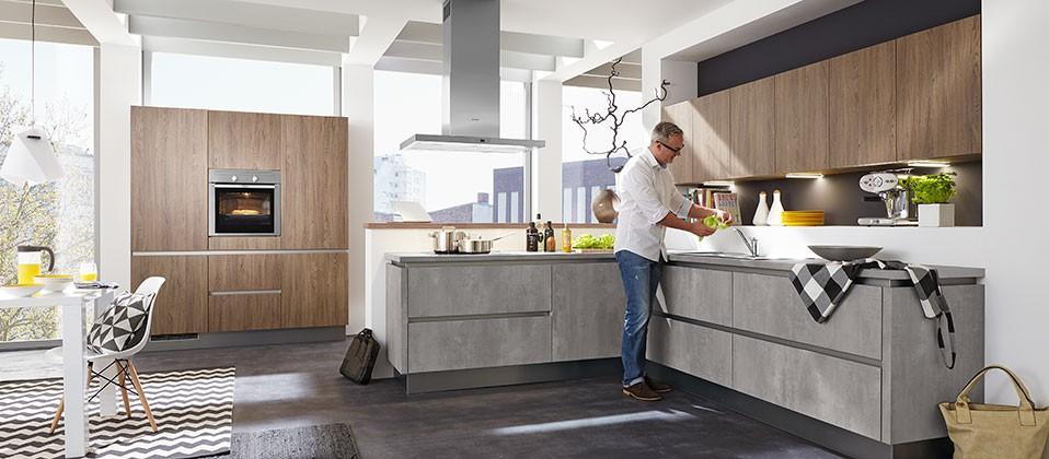 Grifflose Küche In Moderner Betonoptik